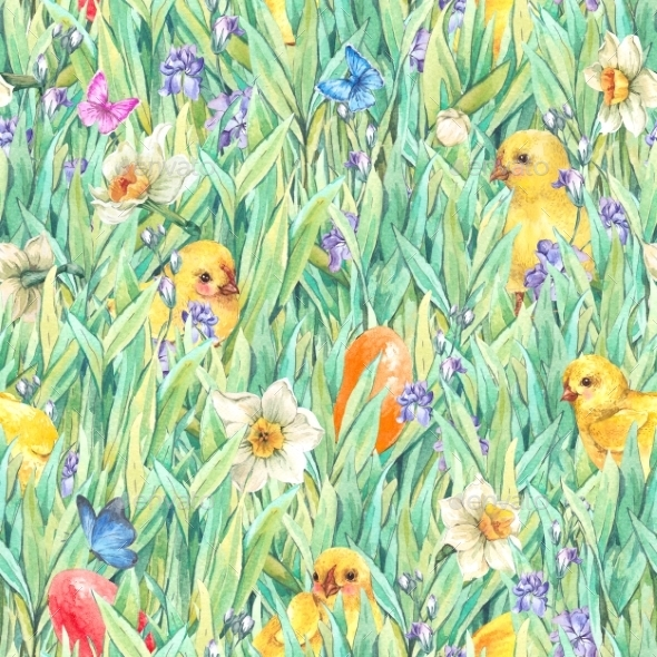 Happy Easter Seamless Pattern With Green Grass - Nature Backgrounds