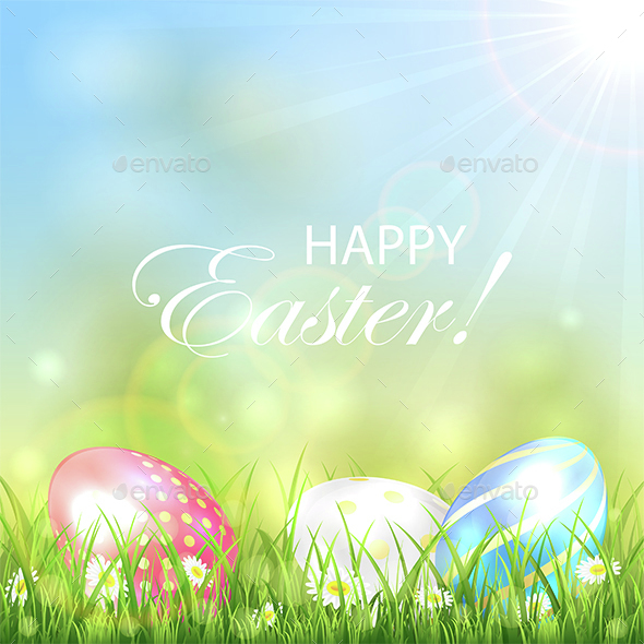 Easter Background with Three Colorful Eggs - Seasons/Holidays Conceptual