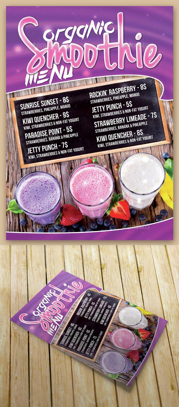Smoothie Menu - Food Menus Print Templates