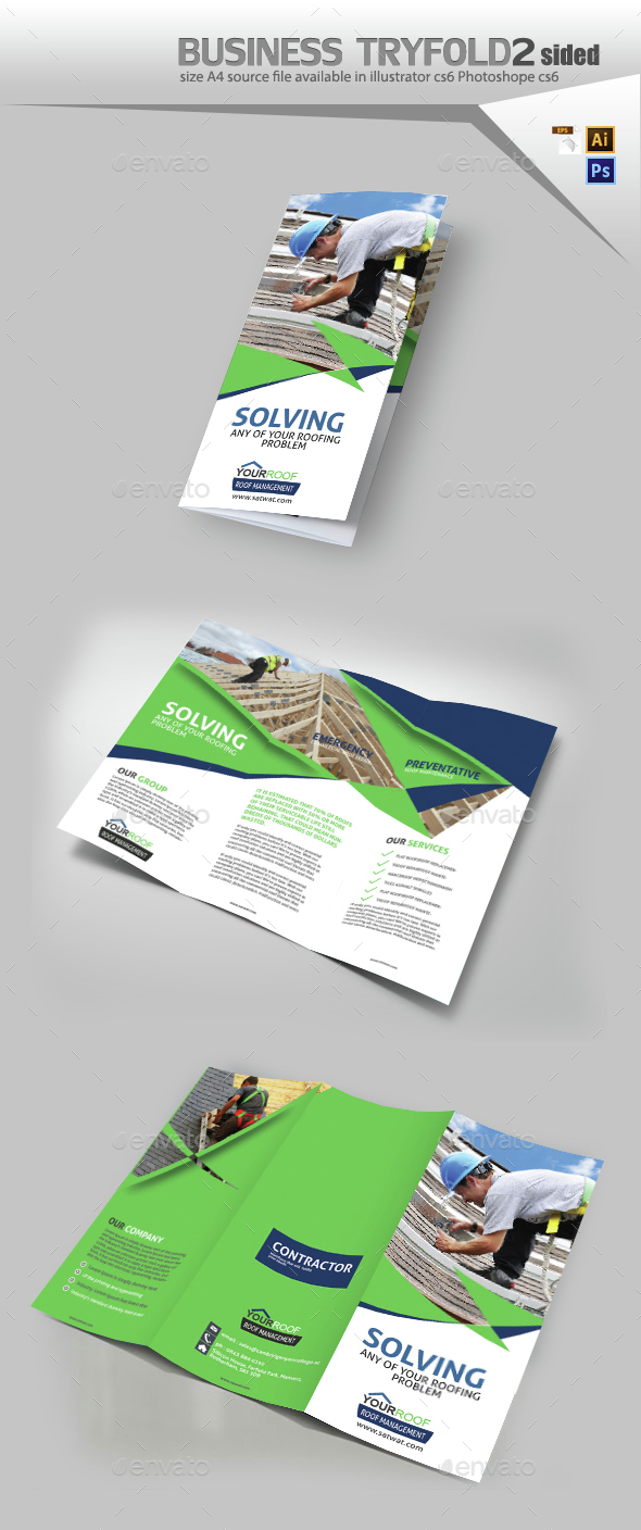 Roof Repair Service Trifold Brochure - Brochures Print Templates