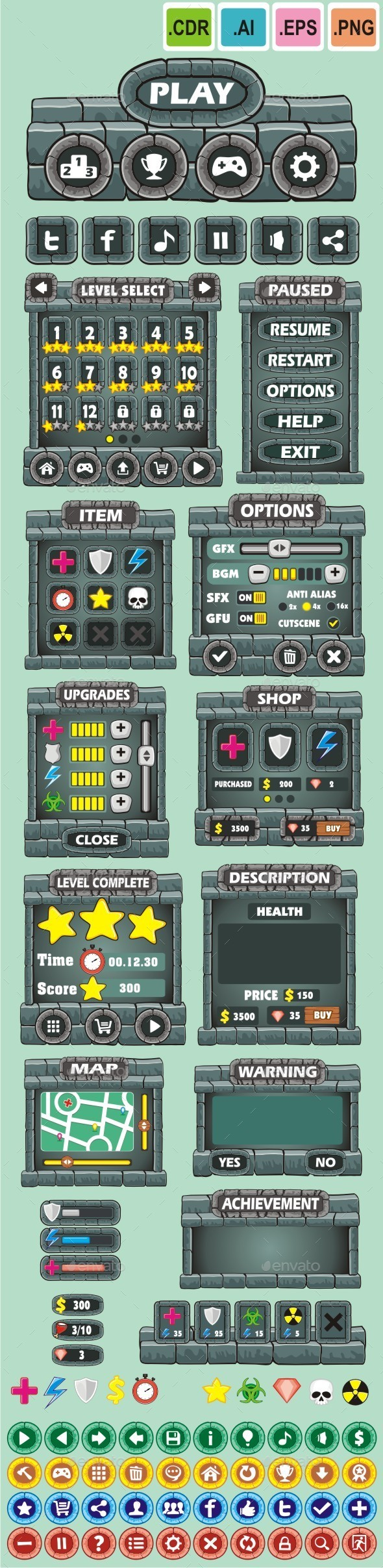 cartoon game gui pack 17 - User Interfaces Game Assets
