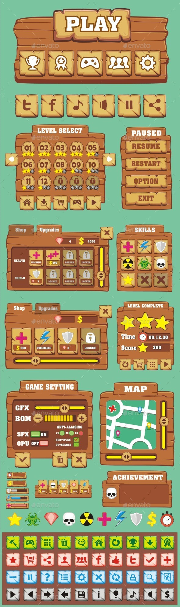 cartoon game gui pack 2 - User Interfaces Game Assets
