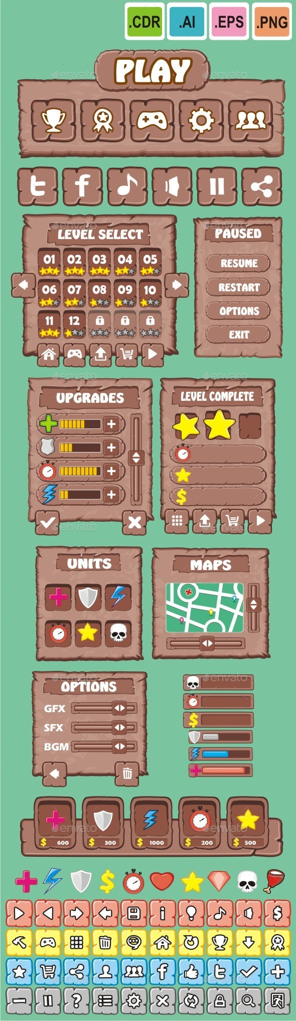cartoon game gui pack 5 - User Interfaces Game Assets