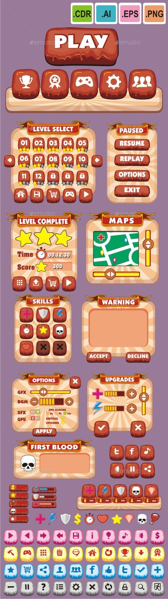 cartoon game gui pack 7 - Sprites Game Assets