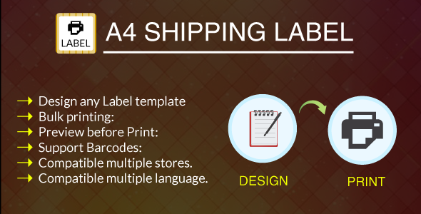 A4 Print Shipping Label Module - CodeCanyon Item for Sale