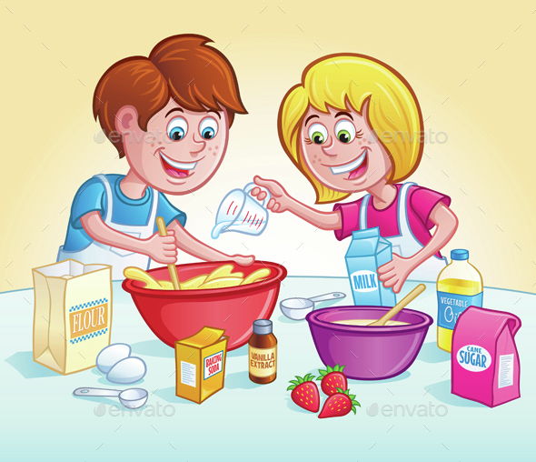 Kids Mixing Up A Recipe - Food Objects