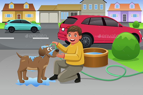 Kid Giving His Dog a Bath - People Characters