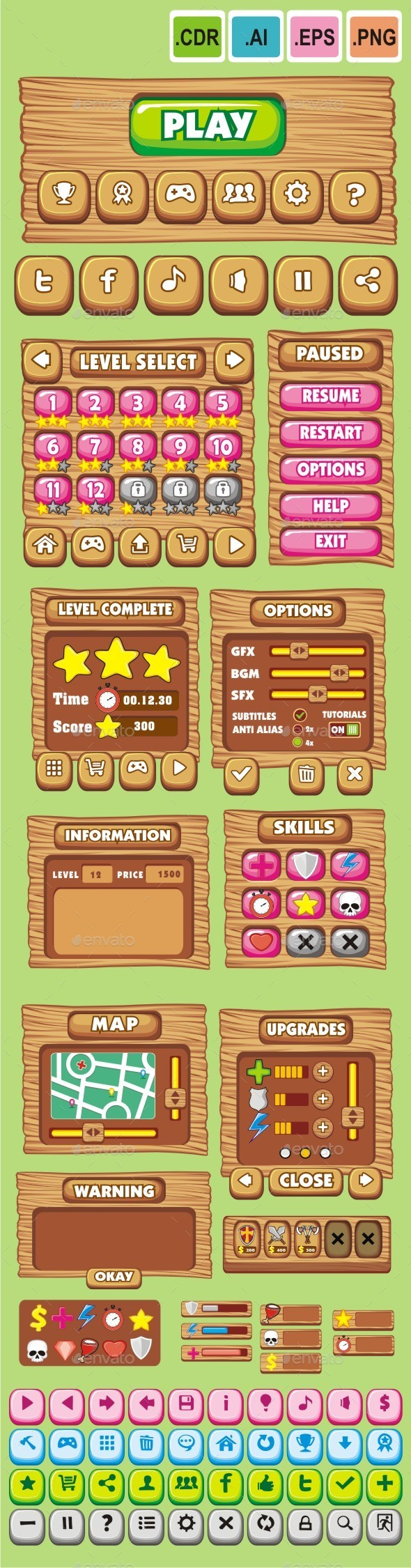 cartoon game gui pack 10 - User Interfaces Game Assets