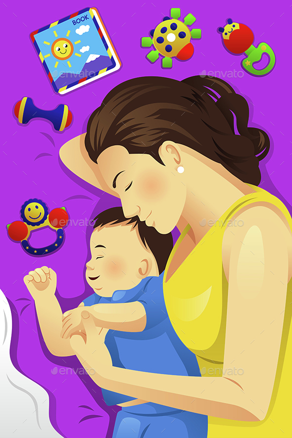 Mother Baby Sleeping Together - People Characters
