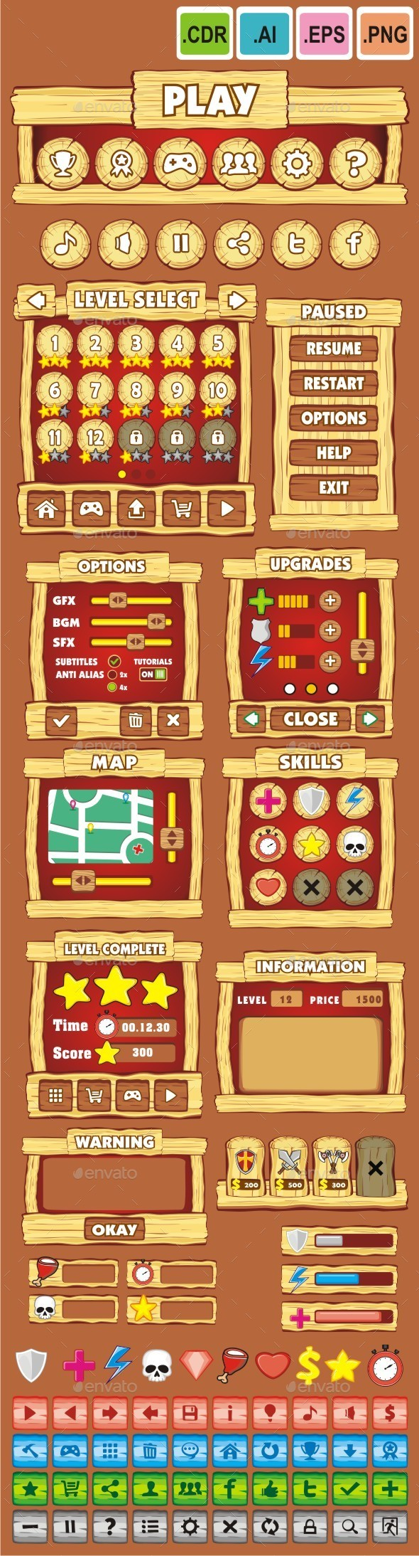 cartoon game gui pack 11 - User Interfaces Game Assets