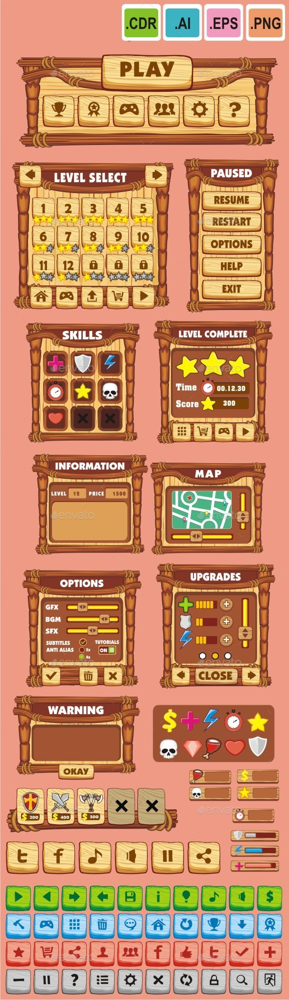 cartoon game gui pack 13 - User Interfaces Game Assets