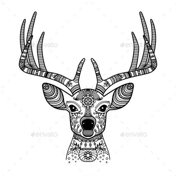Deer Head With Floral Ornament - Animals Characters