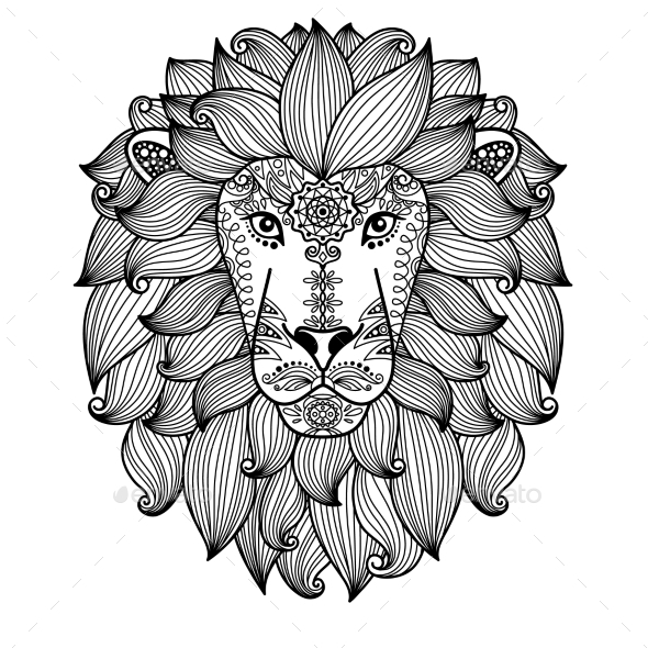 Lion Head With Ethnic Floral Pattern - Animals Characters