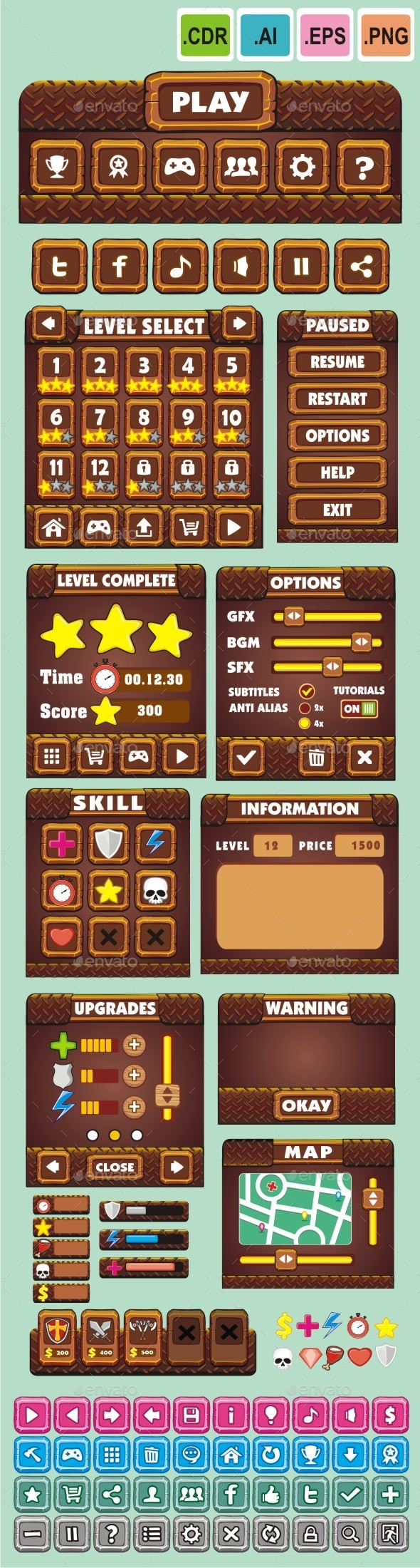 cartoon game gui pack 14 - User Interfaces Game Assets