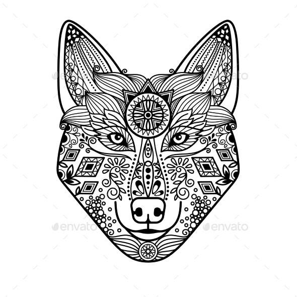 Wolf Head With Hand Drawn Ornament - Animals Characters