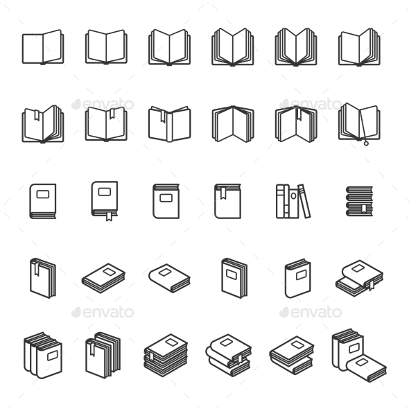 Book Thin Line Icons - Miscellaneous Vectors