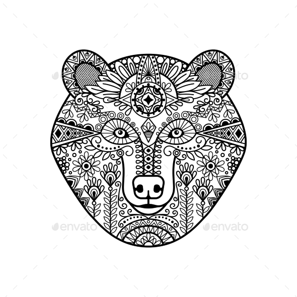 Zentangle Bear Head - Animals Characters