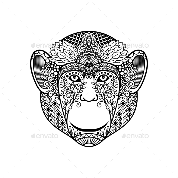 Zentagle Monkey Head  - Animals Characters