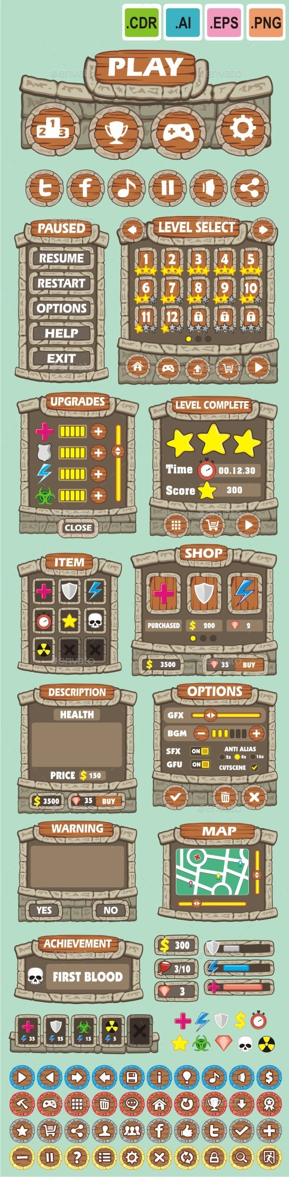 cartoon game gui pack 16 - User Interfaces Game Assets