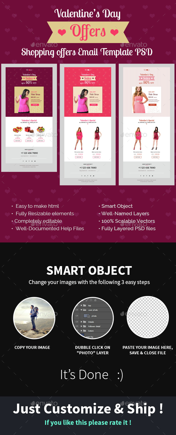 Valentine's Day Shopping Offers E-Newsletter PSD Template - E-newsletters Web Elements