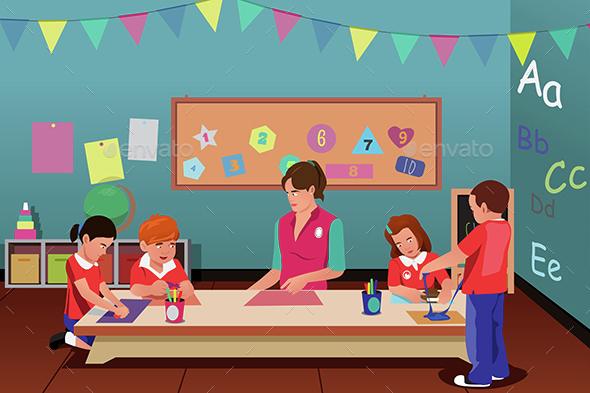 Kids in Preschool - People Characters
