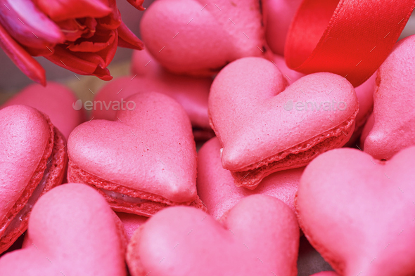 Heart-shaped macarons. Creative decoration for Valentine's Day - Stock Photo - Images