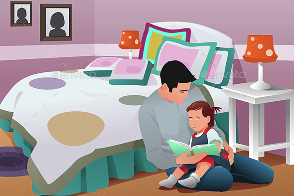 Father Telling a Bedtime Story to His Daughter - People Characters