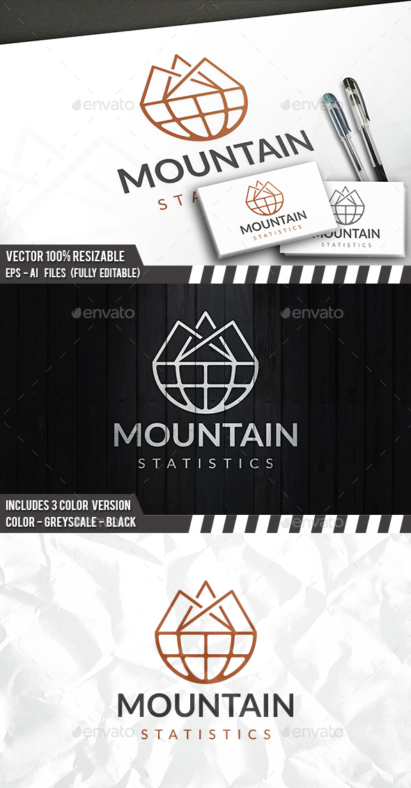 Mountain World Logo - Nature Logo Templates