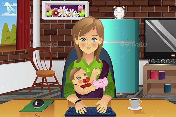 Mother Holding Her Baby While Working At Home - People Characters