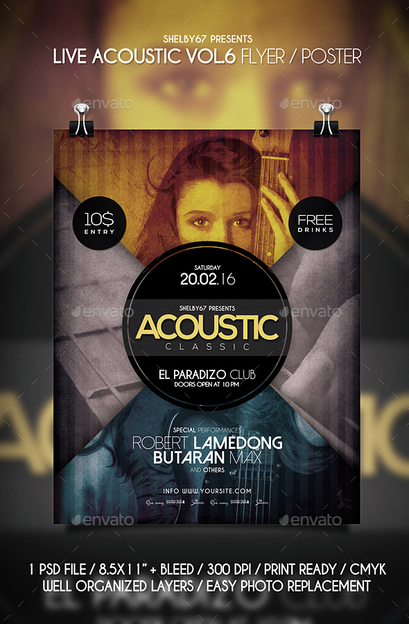 Live Acoustic Flyer / Poster Vol 6 - Events Flyers