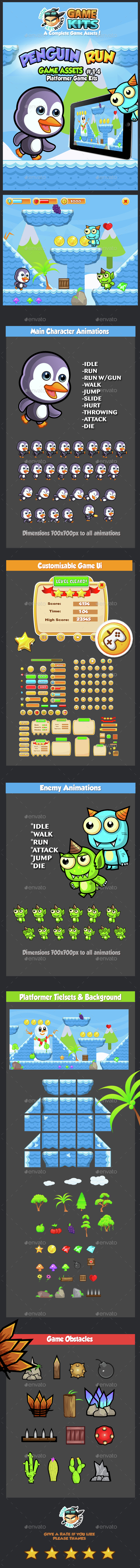Penguin Run Platformer Game Assets 14 - Game Kits Game Assets