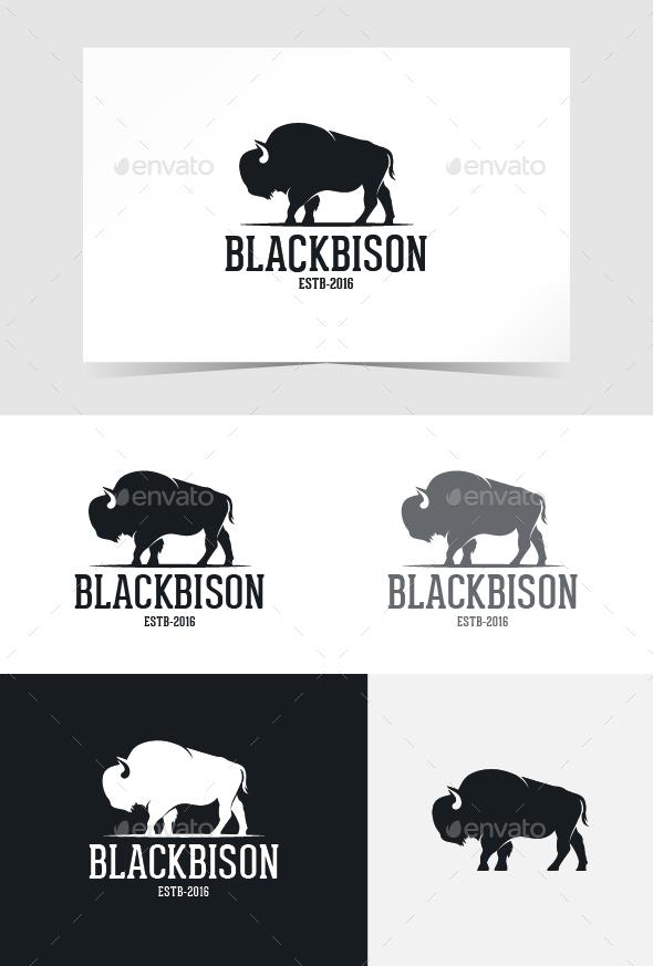 Black Bison Logo Template - Animals Logo Templates
