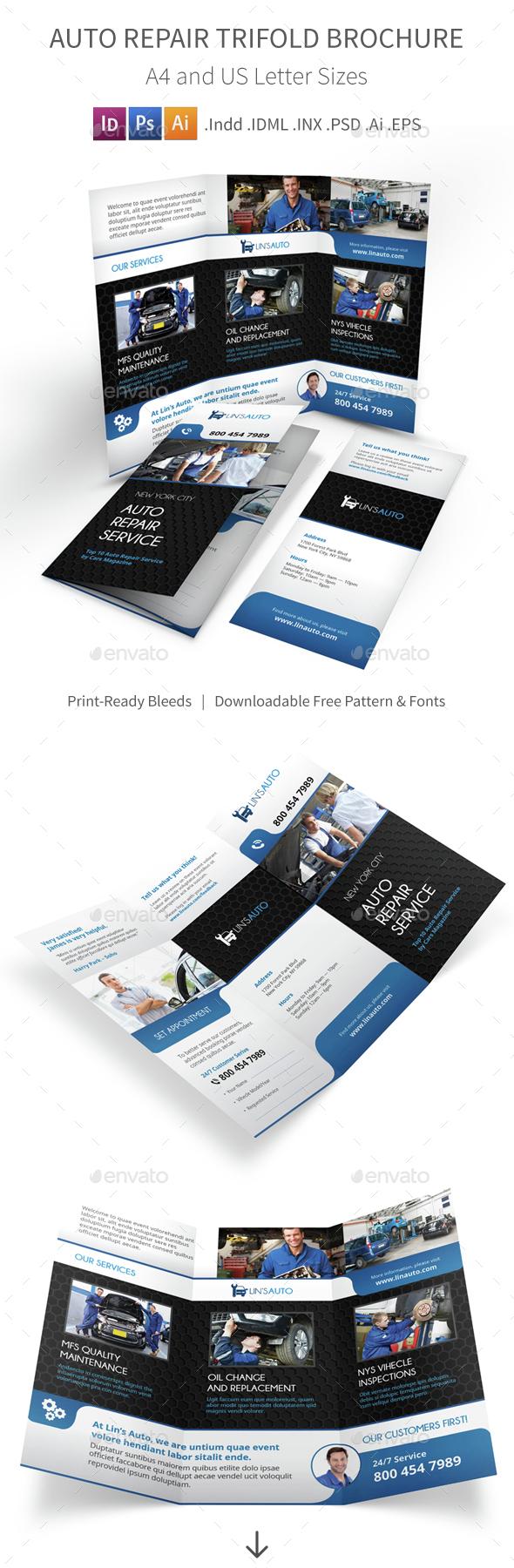 Auto Repair Trifold Brochure - Informational Brochures