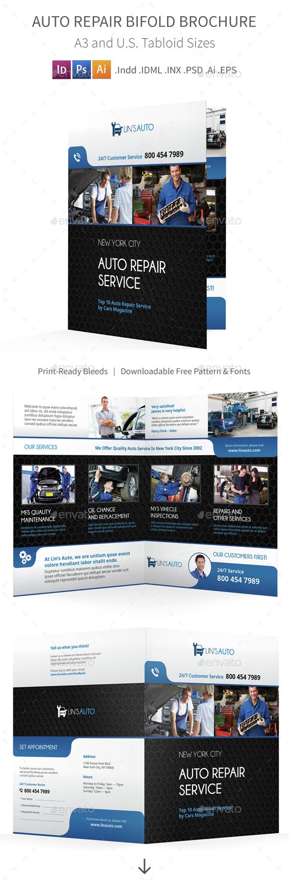 Auto Repair Bifold / Halffold Brochure - Informational Brochures
