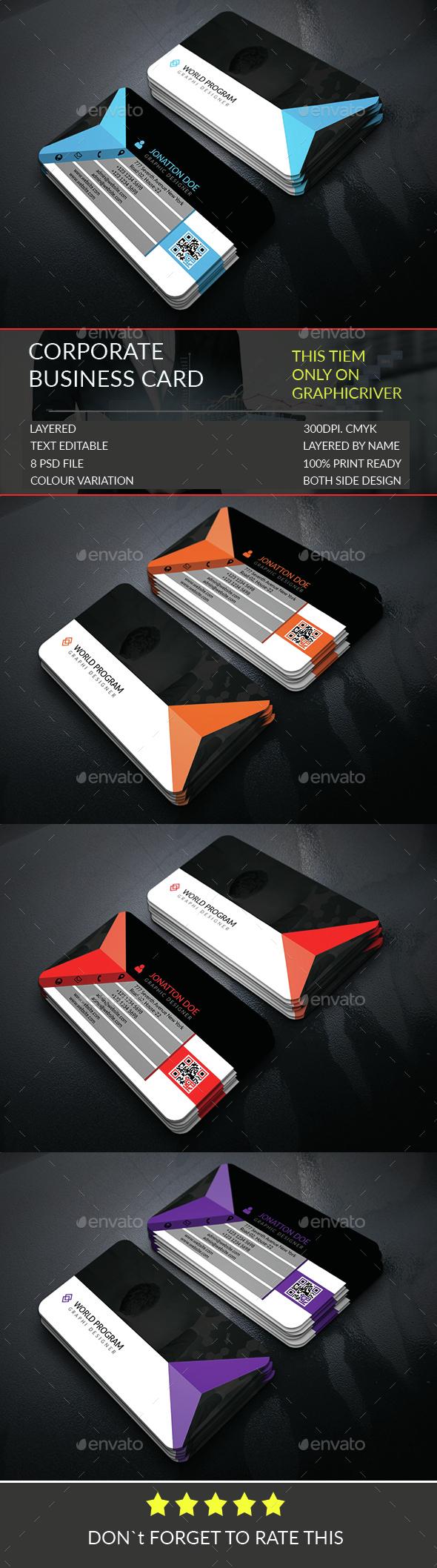 Corporate Business Card Template.252 - Corporate Business Cards