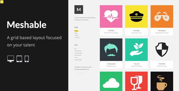 Meshable: Responsive and Creative Grid Based HTML Template