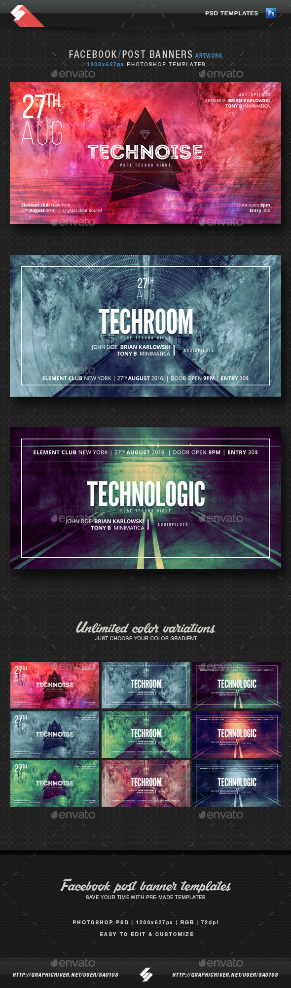 Electronic Music Party Vol1 - Facebook Post Banner Templates - Miscellaneous Social Media
