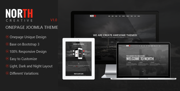 North - One Page Parallax Joomla Template - Creative Joomla