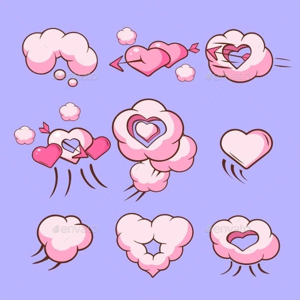Cloud Love Hearts Comic Elements For Valentines - Valentines Seasons/Holidays