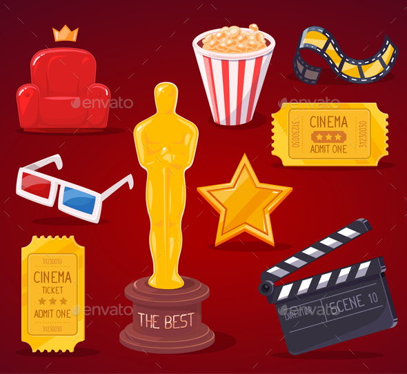 Collection of Cinema Industry Objects - Objects Vectors