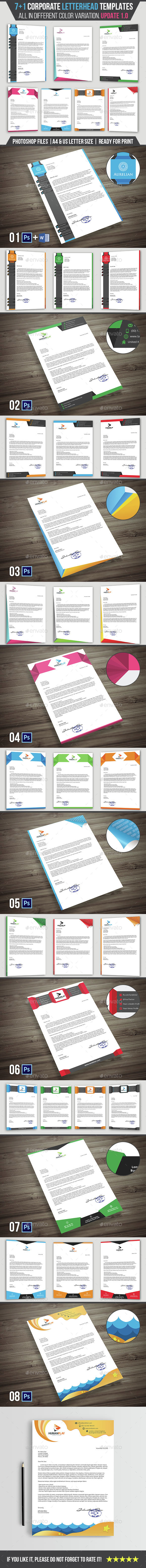 7+1 Corporate Letterhead Templates Pack - Stationery Print Templates