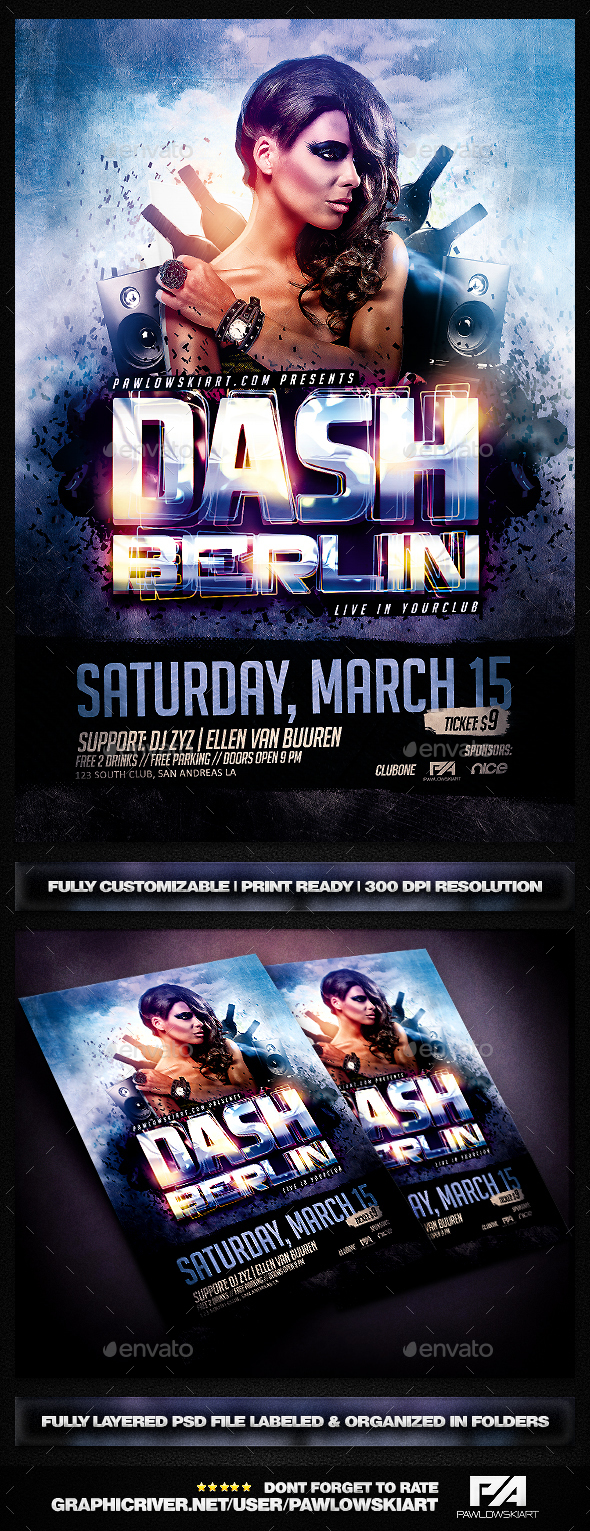 DJ Electro v2 Party Flyer PSD Template - Clubs & Parties Events