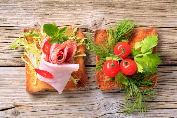 Toast with ham and vegetables - Stock Photo - Images