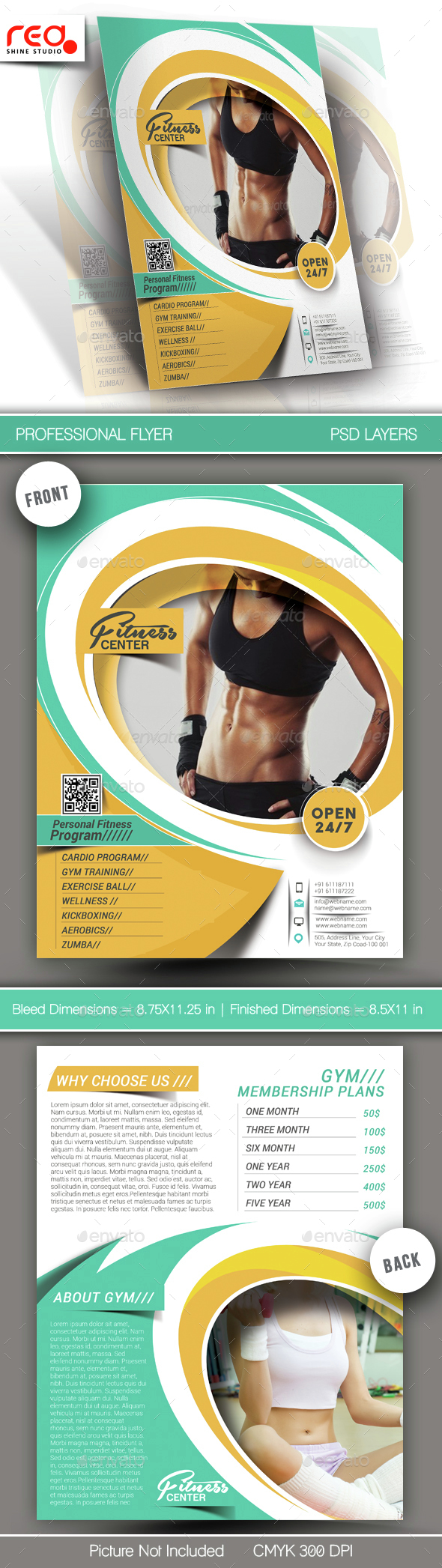 Fitness & Yoga Center Flyer & Poster Template - Sports Events