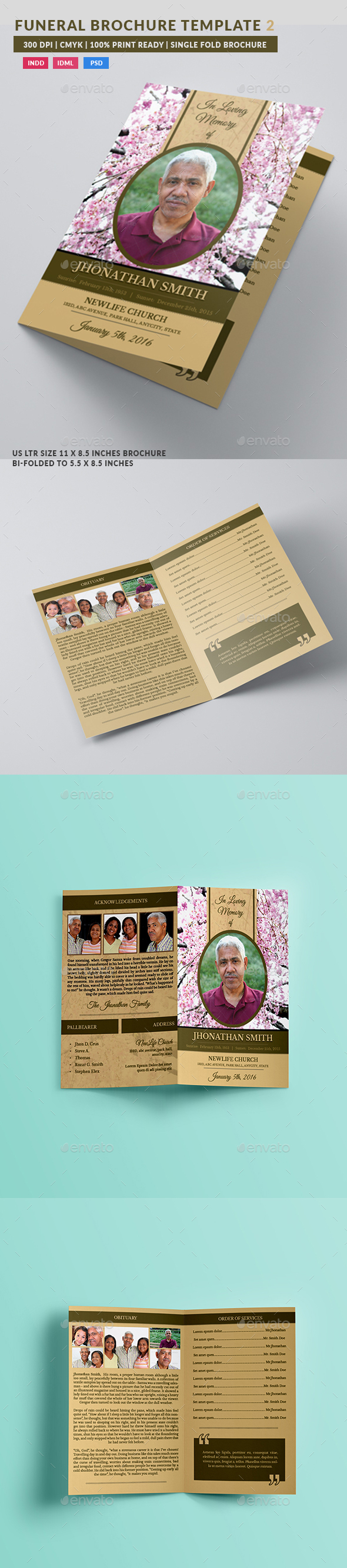 Cherry Blossom Funeral Indesign Brochure Template - Brochures Print Templates