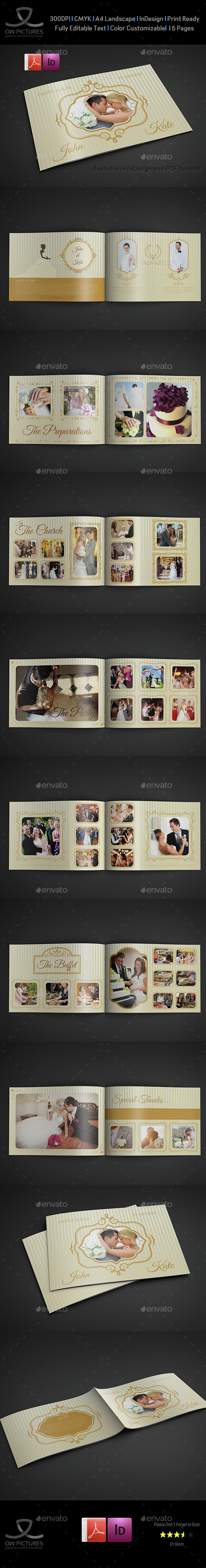 Wedding Album Template - 16 Pages - Photo Albums Print Templates