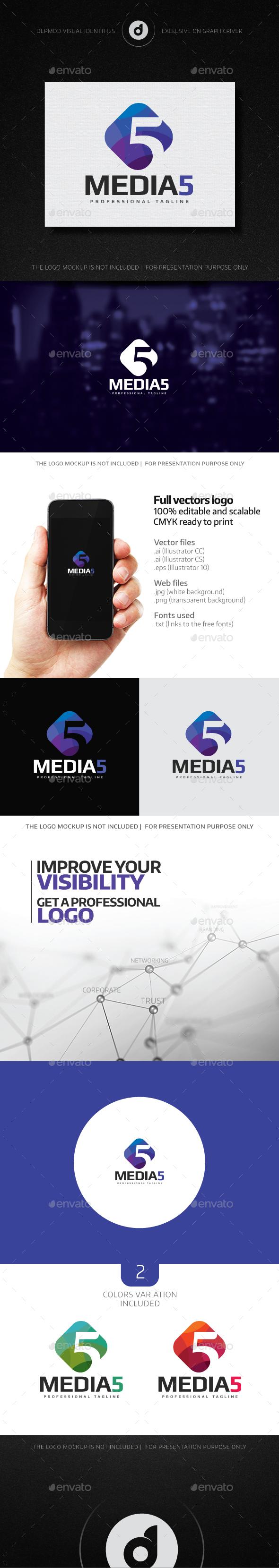Media 5 Logo - Numbers Logo Templates