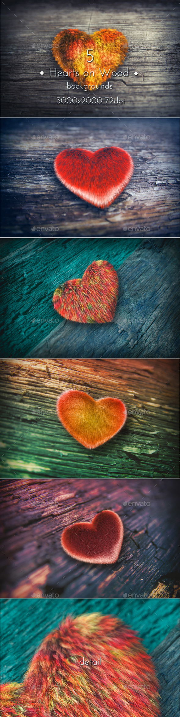 Hearts on Wood - Miscellaneous Backgrounds
