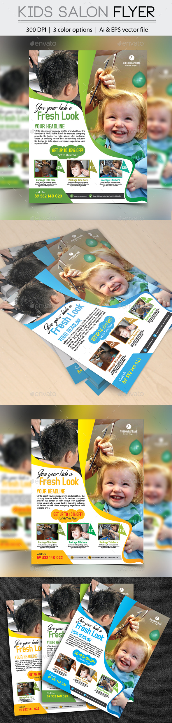 Kids Hair Cut Flyer - Flyers Print Templates