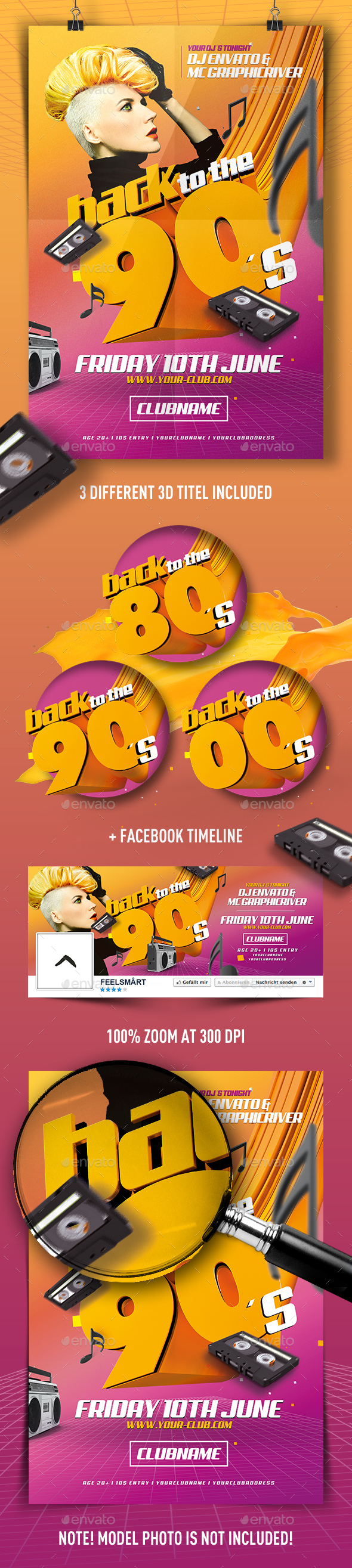 Back To The 90s Flyer - Clubs & Parties Events